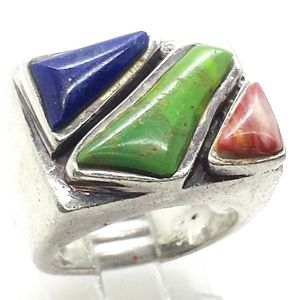 Lapis Gaspiete Spiny Oyster Gems Sterling Silver 7